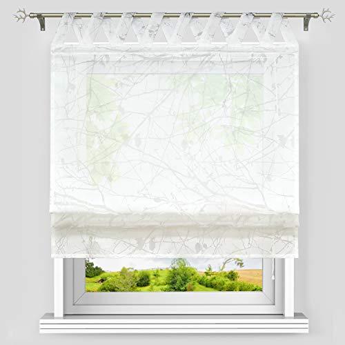Heichkell Voile Raffgardine mit V-Schlaufen Ausbrenner Äste-Muster Raffrollos Transparenter Schlaufenschal Weiß BxH 80x140 cm
