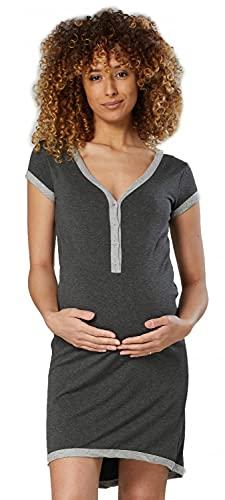 HAPPY MAMA. Damen Umstands-Nachthemd mit Stillfunktion. Stillshirt Kurzarm. 981p (Graphit Melange & Grau Melange, 44-46, 3XL)