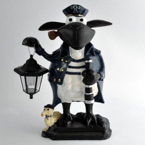 Vamundo Deko Schaf Molly # Kapitän mit Solarlampe für den Garten