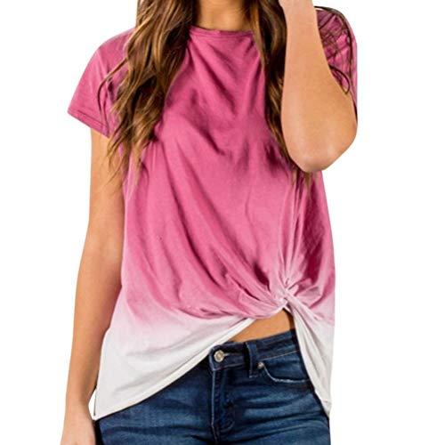 MaoDaAiMaoYi Shirt Dames Zomer Korte Mouw Ronde Toppen Kleurverloop Hals Vrouwen Mode Leven Casual Onregelmatige Basic T-Shirt Blouses