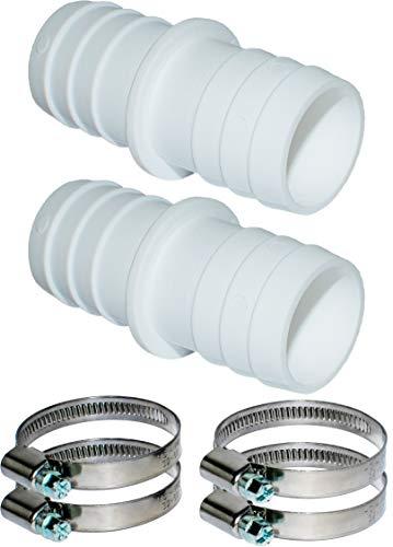 Pangaea Tech 2 conectores de manguera de 38 mm de diámetro con abrazaderas de manguera de 1 1/2 pulgadas, adaptador de manguera de piscina, boquilla de manguera doble, 2 unidades