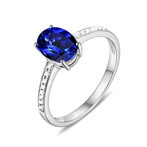 Aeici 18K White Gold Jewelry for Women,4-Prong with Sapphire and Diamond Women's Ring Band Size R 1/2 White Gold