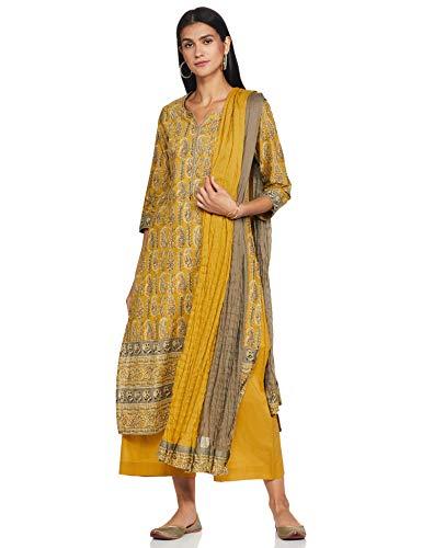 Biba Girls Women's Cotton Salwar Suit Set (SKD6926OCR YEL_Ochre Yellow_36)