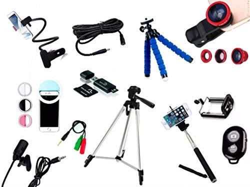Kit Youtuber 10x1 - Microfone Lapela + LED Ring + Tripé 1,30m + Mini Tripé Octopus + Extensor P2 + Suporte Articulado + Kit Lentes 3x1