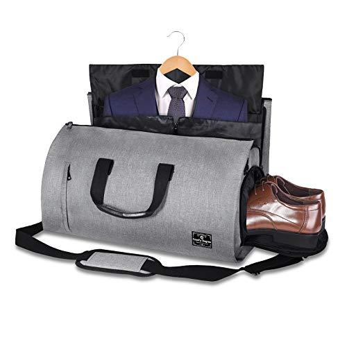 Borsa per indumenti da viaggio, borsone da viaggio, borsone da viaggio convertibile - Borsa per abito 2 in 1, zaino impermeabile, borsa da volo per weekend lungo, borsone da viaggio pieghevole (Nero)