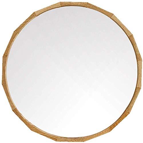 H.yina 50cm (19,7 ″) Kosmetikspiegel an der Wand befestigter Kosmetikspiegel mit Eichenholzrahmen für Wohnzimmer Badezimmer Rasierspiegel Wandbehang Dekorativer Spiegel