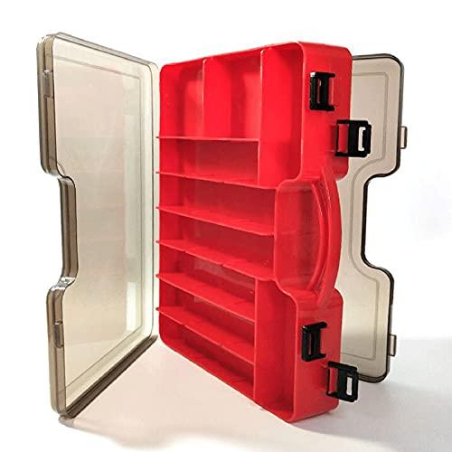 Doble capas caja de señuelos de pesca, caja de plástico para pesca profesional, cajas para aparejos de pesca,estuche de señuelos con transparente compartimentos iIdeal para almacenar señuelos de pesca