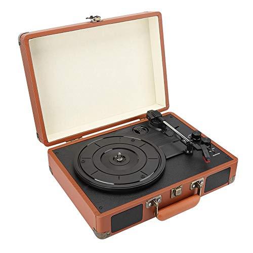 Tocadiscos de Vinilo de Estilo Vintage,Bluetooth Music Three Speed Reproductor de Discos con Vinilo, PH/INT/BT 2.0 Reproductor de Vinilo Estéreo,Jukebox Universal de Madera y Cuero PU,Regalo(E