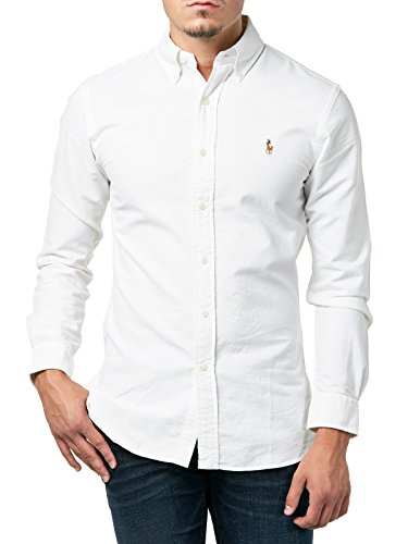 Polo Ralph Lauren Slim FT BD PPC Camicia Casual, Bianco (White A1000), L Uomo
