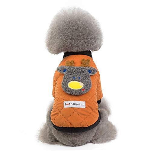 GBY Huisdier Kerstkleding, hond kleding winterjas, teddybeer Xiong bomei kleine hond huisdier mantel, tweepootige kleding herten jas, Small, oranje