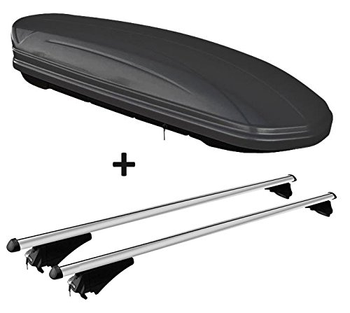 VDP Dachbox schwarz matt MAA 460M Auto Dachkoffer 460 Liter abschließbar + Alu-Relingträger Dachgepäckträger aufliegende Reling im Set kompatibel mit Honda Civic IX Tourer ab 13