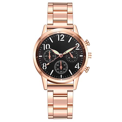 xy Relojes de Cuarzo de Las Mujeres Creativo Luminoso de Acero Inoxidable cinturón Reloj de Pulsera Moda Simple Reloj de Pulsera Casual Reloj Mujer # W (Color : A)