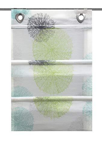 Clever-Kauf-24 Magnetrollo Rawlins grün inkl. Haken | Raffrollo mit Magnetraffung | Gardine ohne Bohren Montage direkt am Fenster (BxH 60x130cm)