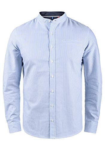Blend Dubbal Herren Hemd Langarmhemd Freizeithemd mit Stehkragen, Größe:M, Farbe:Regatta (74010)