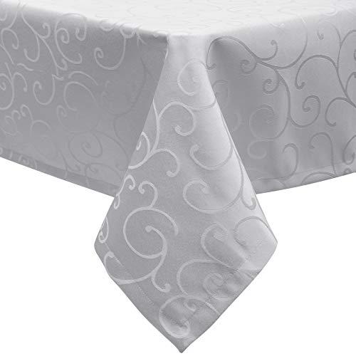 EUGAD Tischdecke Damast Ornamente Seidenglanz Kringel/Circle Design Tafeldecke mit Saum, Tischtuch Größe & Farbe wählbar, Edel Tisch Decke Abwaschbar und Bügelfrei, Eckig 130x220 cm Hellgrau