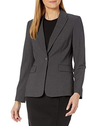 Calvin Klein Women's One Button Lux Blazer, Charcoal, 4