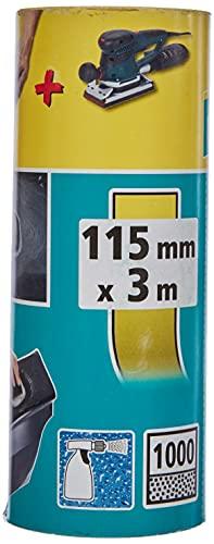 Wolfcraft 5818000 rollo de papel abrasivo en húmedo y seco, carburo de silicio, grano 1000 PACK 1, 0 V, Negro, 3 m x 115 mm