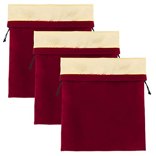 Bolsa 3pcs Secador de pelo almacenamiento, Segbeauty secador del soplo bolsa, 11.8x15.7 pulgadas raso forrado con cordón rojo de vino de terciopelo bolsa bolsa para la ropa, bolsas de regalo Navidad