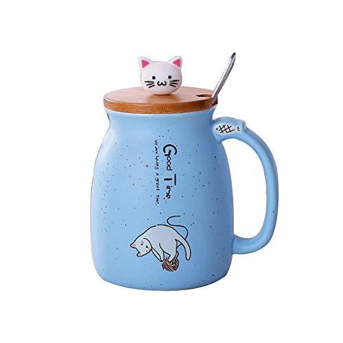 Lifemaison Cat Keramik Becher hitzebeständige Tasse mit Löffel Deckel Drinkware Paar Geschenk mit Cartoon Katze Deckel Milch Kaffee Tee Weihnachten Büro Paar Tasse 420 Ml
