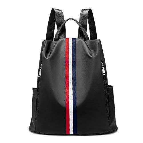 Rucksack Damen Schwarz, LOVEVOOK wasserdichte Nylon Daypack Schultaschen Reiserucksack, Anti-Diebstahl Backpack Tagesrucksack Schultertasche Leicht