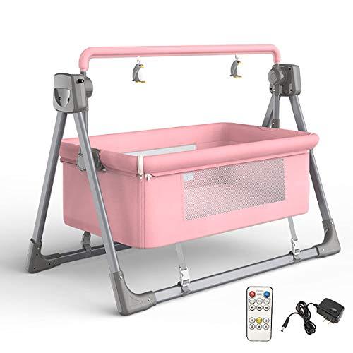 MOZX Hamaca De Bebé con Mando A Distancia Bluetooth, Mecedora Eléctrica para Recién Nacidos con Colchón, Almohada, Mosquitero, Peluches, Ajustable En 3 Posiciones,Rosado