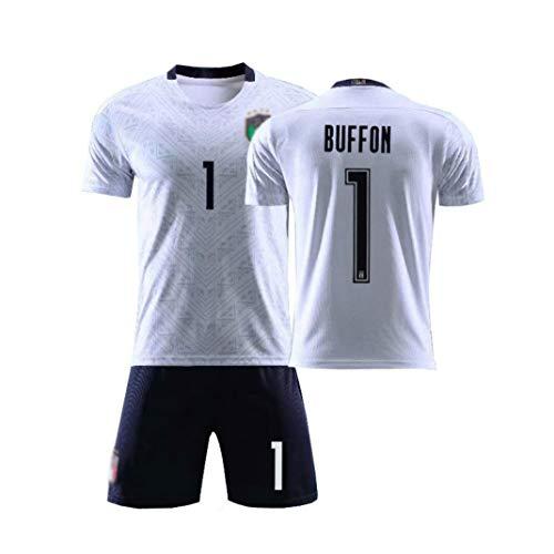 Heim Fußball Trikot Buffon #1 Shorts Kinder Und Jugend Größe Im Sommer Atmungsaktiv Und Schnell Trocknend,Weiß,18