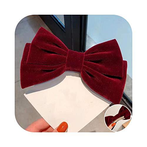 1 épingle à cheveux noeud en velours avec clip - 17 cm - Style vintage - Noir - Bordeaux - Nœud rouge