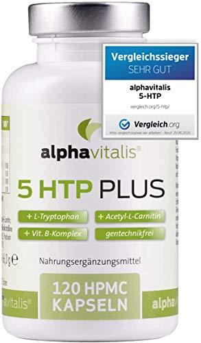 VERGLEICHSSIEGER 2020*: 5-HTP PLUS - 200mg 5-Hydroxytryptophan + L-Tryptophan + Acetyl-L-Carnitin + Vitamin B Komplex - ohne Magnesiumstearat - vegan- 120 Kapseln