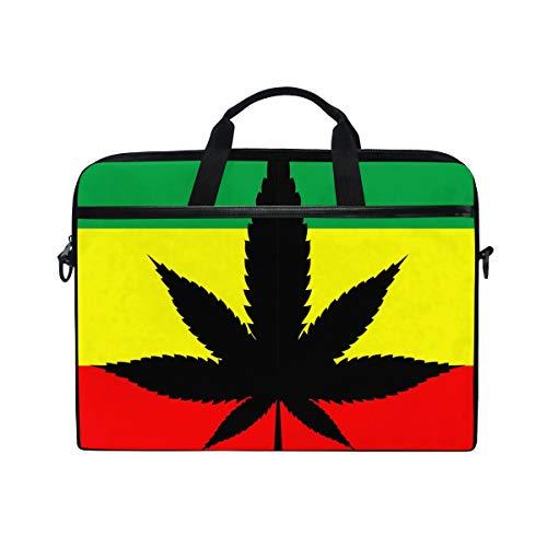 ALARGE Laptop-Tasche mit Marihuana-Blättern, 35,6-39,1 cm (14-15,4 Zoll) Computertasche, Aktentasche, Kuriertasche, Schultergurt, Griff für Herren, Damen, Kinder, Jungen und Mädchen