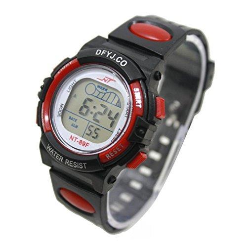 Yistu Reloj deportivo para niños, con luz LED, alarma, fecha (B)