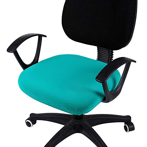 smiry Stretch Jacquard Office Computer Chair Seat Covers, Removable Washable Anti-dust Desk Chair Seat Cushion Protectors - Peacock Green