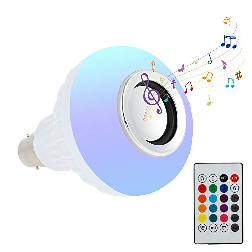 Lampadine Led Colorate E27 con Telecomando 12w, Altoparlante Bluetooth Rgb Multicolore per Casa Festa Decorazione (E27)