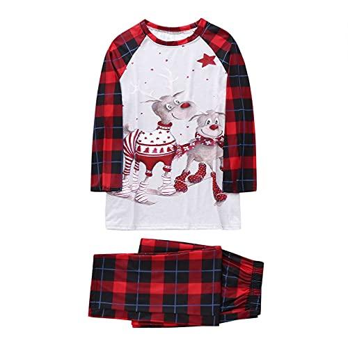 ROYIYI Merry Christmas Schlafanzug Familie Winter Pyjamas Set Langarm Nachthemd Top Plaid Nachthose Baby Strampler Weihnachts Schlafanzüge für Vater Mutter Kinder Baby Junge Mädchen
