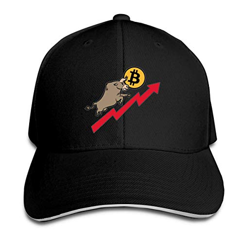Bitcoin und Bull Stock Market Trucker Baseball Cap Verstellbarer Peaked Sandwich Hut