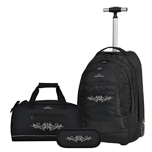 Premium Schulset 3 Teile :: Schultrolley Schulranzen 35 Liter KEANU hochwertiger XL Schulrucksack Rucksack Driver + passende Sporttasche + Etui Box Mäppchen (Black Tattoo)