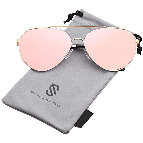 SOJOS Oversized Aviator Sunglasses Mirrored Flat Lens for Men Women UV400 SJ1083 with Gold Frame/Pink Mirrored Lens