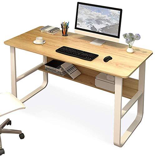 Equipo para el hogar Escritorio para computadora Escritorio para computadora Escritorio de madera de acero Escritorio de estudio minimalista moderno Mesa de oficina en casa con estantería Estacione