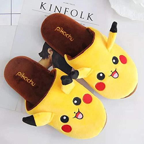 SHOESESTA Plüsch Hausschuhe Pokemon Pikachu Plüschpantoffeln Herren Damen Herbst Winter japanischer Anime Baumwollschuhe rutschfest warm drinnen Freizeit Bodenschuhe-gelb_Man 40-42