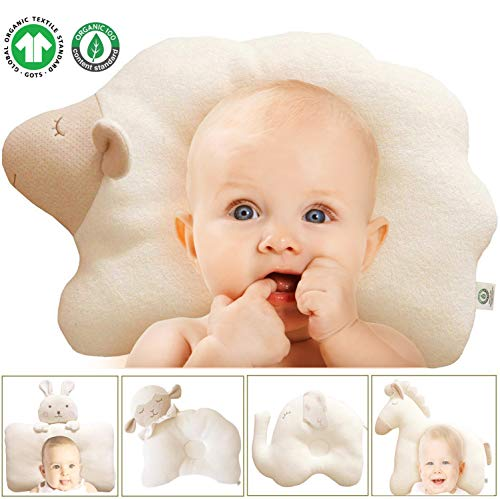 0-6 Beige Newborn Baby Cotton Pillow For Flat Head Syndrome Prevention Support