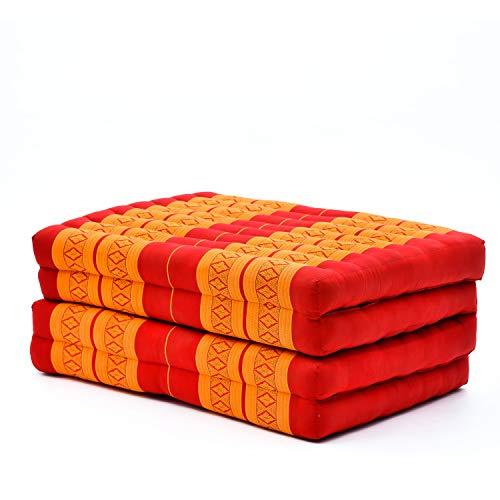 Leewadee futón Plegable Standard – Colchoneta para Doblar de kapok orgánico Hecha a Mano, colchón de Invitados para el Suelo, 200 x 80 cm, Naranjo Rojo