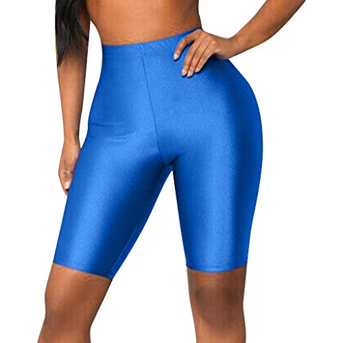 Hohe Taille Yoga-Shorts Damen Stretch Leggings Radfahren Kurze Sport Freizeithosen GreatestPAK,L (Taille:68cm),Blau