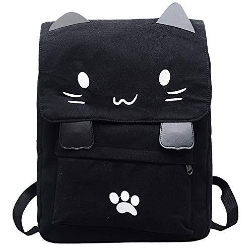 Mujer Bolso de la mochila de la escuela de la lona del gato del estudiante de las señoras Bolsos bandolera Mochila de a diario de Viaje Backpack Daypack para Escuela trabajo fecha