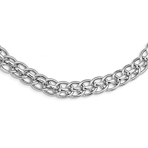 Collar de plata de ley 925 pulido con eslabones de fantasía para mujer, 46 cm