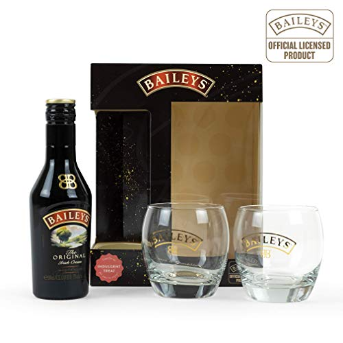 Baileys Geschenkset | Baileys Irish Cream 20cl inkl. 2 x Baileys Tumbler | Official Licensed Baileys Gläser Set mit goldverzierter Schrift | Baileys Mini Flasche | Perfekte Geschenkidee zu Weihnachten