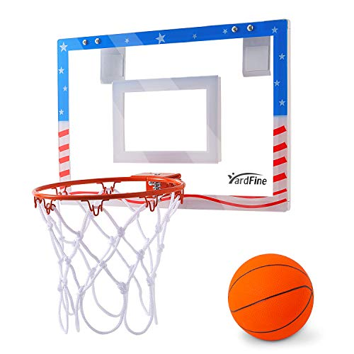 "YardFine Mini Basketball Hoop for Door 18"" x 12"" with Basketball & Pump Shatterproof Mini-Hoop Gift for Kids"