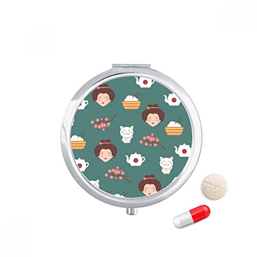 DIYthinker Cat Sakura rijst theepot Japan Travel Pocket Pill case Medicine Drug Storage Box Dispenser Spiegel Gift