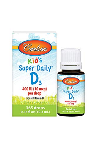Carlson - Kid's Super Daily D3, Kids Vitamin D Drops, 400 IU (10 mcg) per Drop, Heart & Immune Health, Vegetarian, Liquid Vitamin D Drops, Unflavored, 365 Drops