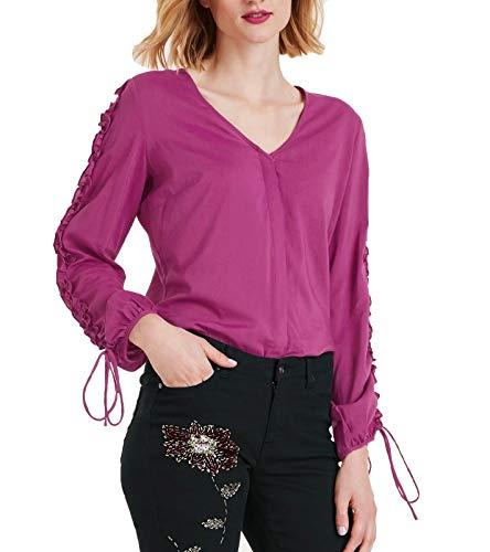 Ashley Brooke Bluse Moderne Damen Langarm-Bluse mit Raffungen Party-Bluse Freizeit-Bluse Violett, Größe:42