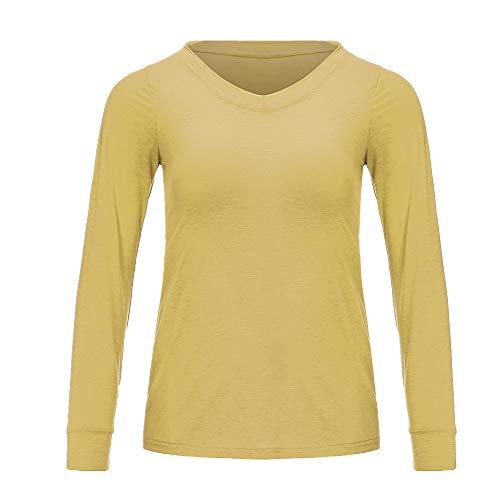 NOBRAND Fashion Sexy V-Ausschnitt Langarm Damen T-Shirt Loose Top Gr. 58, gelb