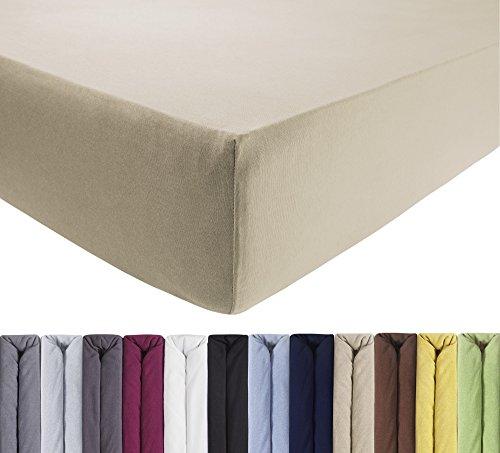 ENTSPANNO Jersey-Luxus-Spannbettlaken 140 x 200 | 160 x 220 cm für Wasser- und Boxspringbett in Sand - Beige aus gekämmter Baumwolle. Spannbetttuch mit Einlaufschutz bis 40 cm hohe Matratzen